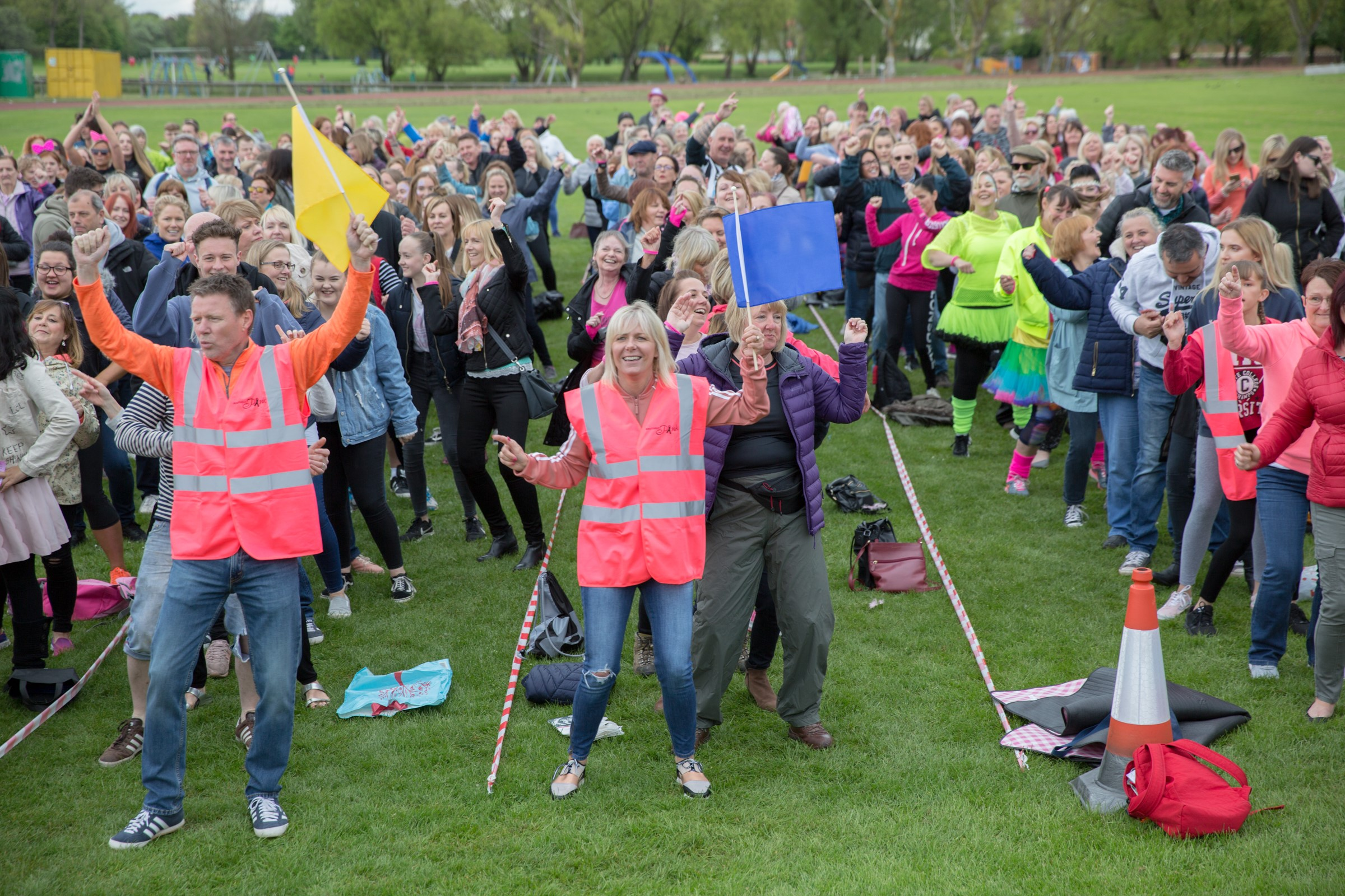 Crowds at Oops Upside Your Head Guiness World Record Attempt Event at Churchill Playing Fields Whitley Bay
