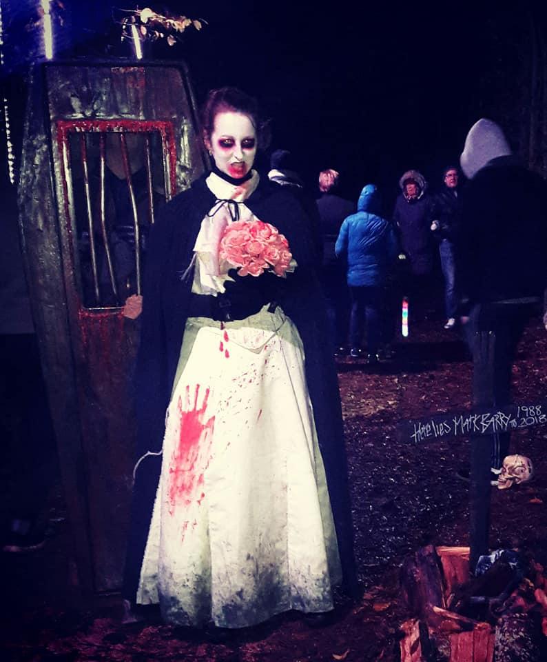 Dead Bride Alnwick Garden The Spookt Garden, Twilight Garden, Scare Walk, Arches